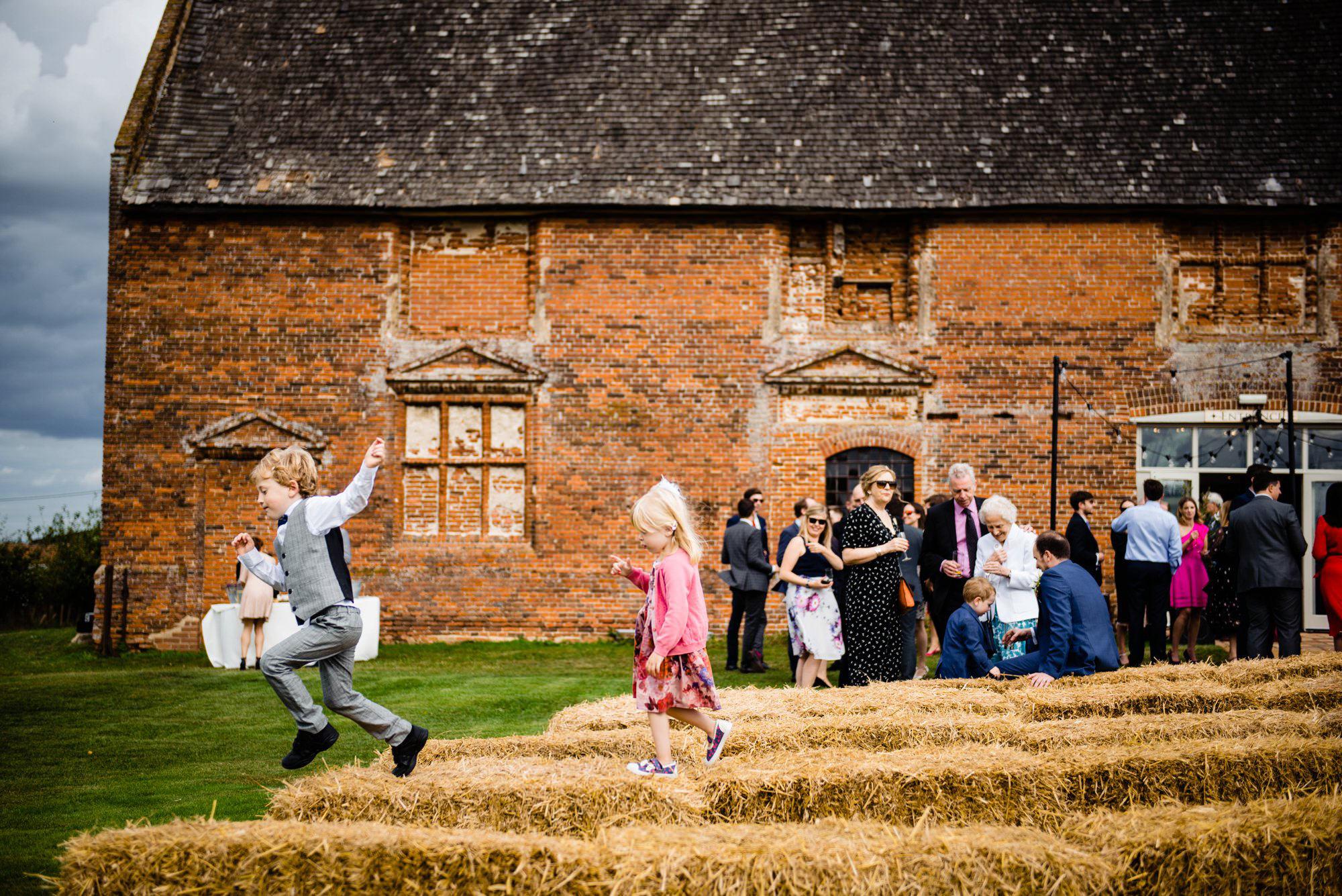 Outdoor wedding ceremony godwick barn