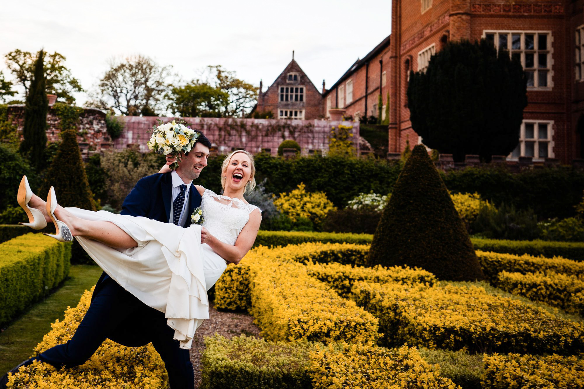 Bride and groom at Oxnead Hall