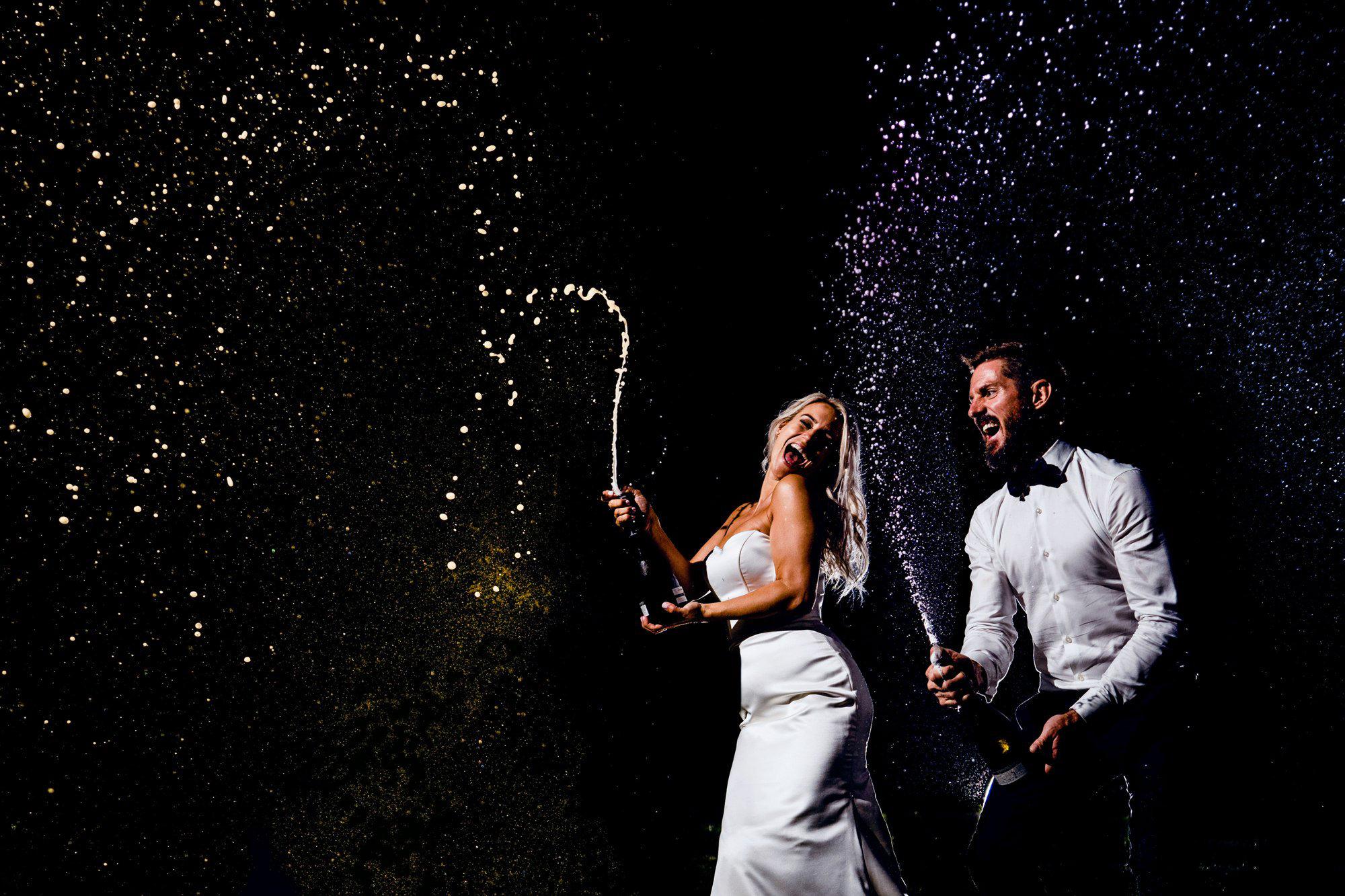 Champagne wedding celebration
