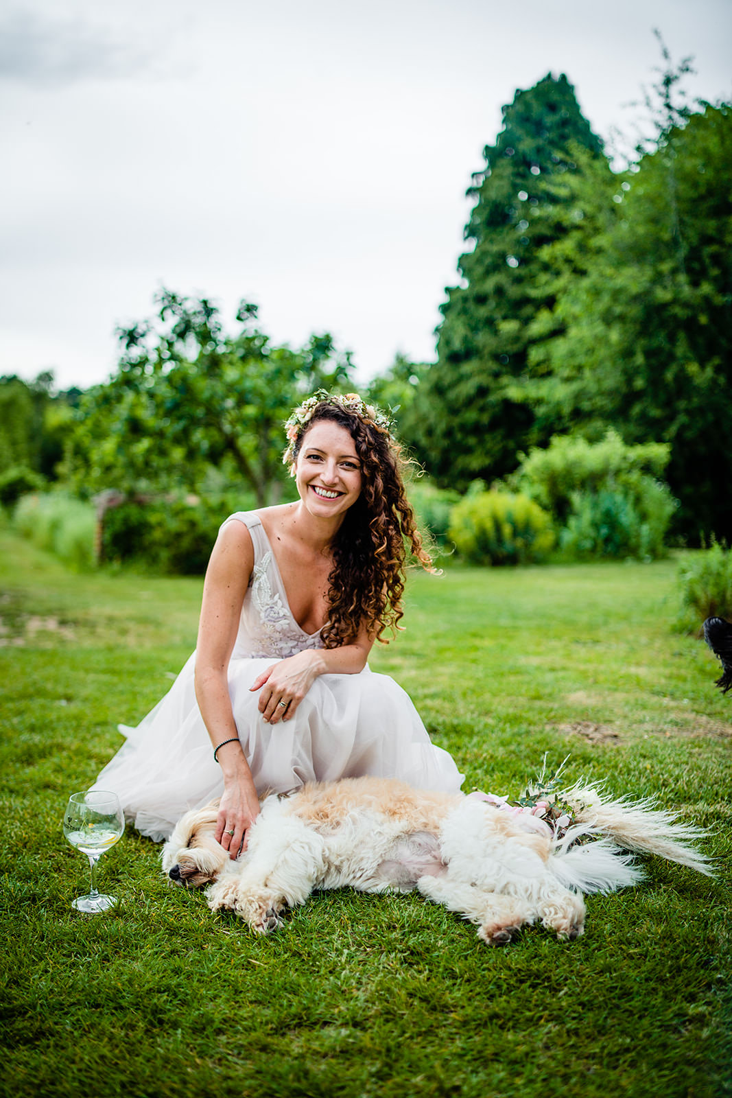 Bride with Dog at West Lexham Wedding